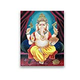 DLFALG Lord Ganesh Vintage Illustration Poster Spiritual Hindu's God Altar Canvas Painting India Religion Wall Art Picture Print Home Decor-40x60cm Sin marco